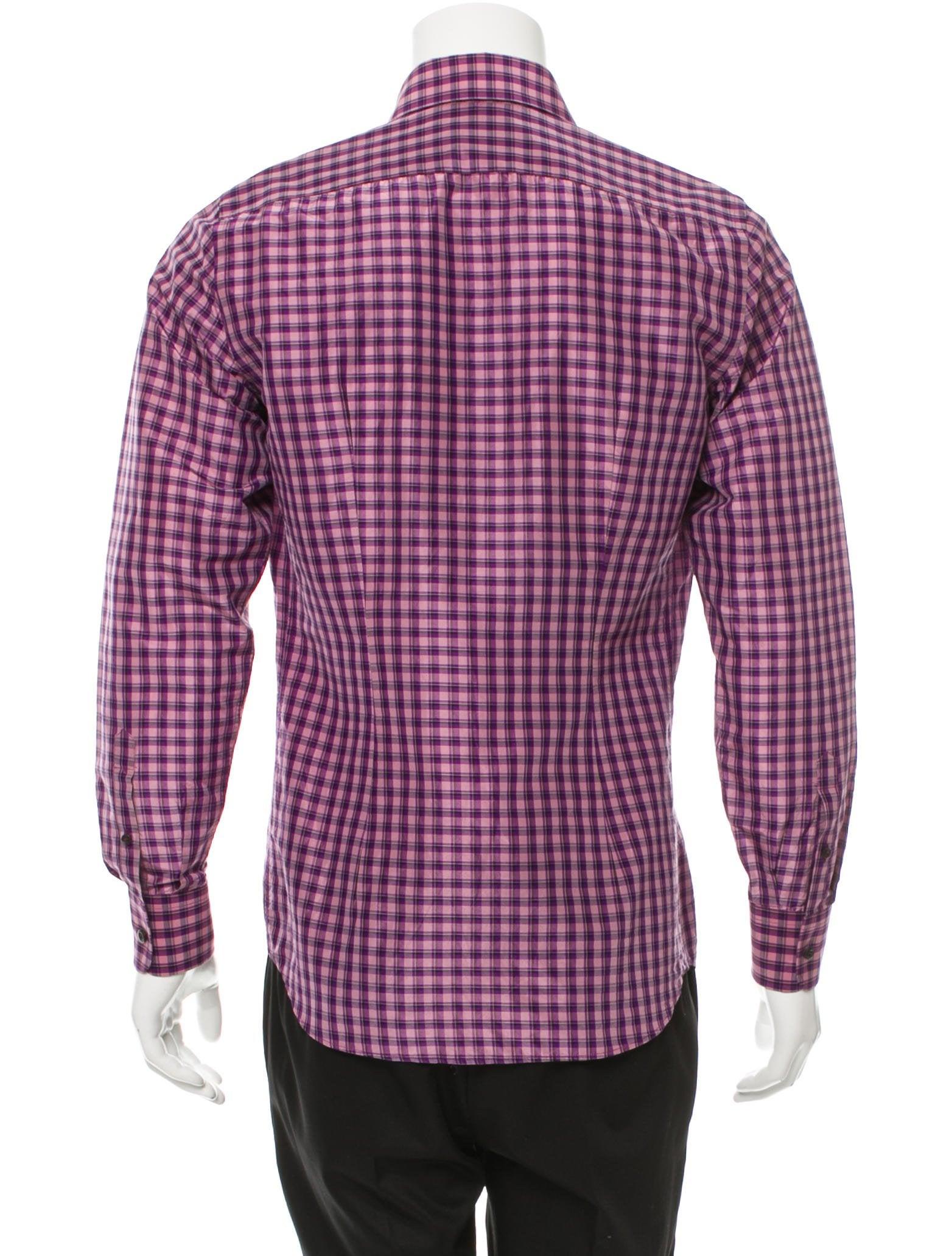 Prada plaid button up shirt clothing pra145337 the for Purple plaid button up shirt
