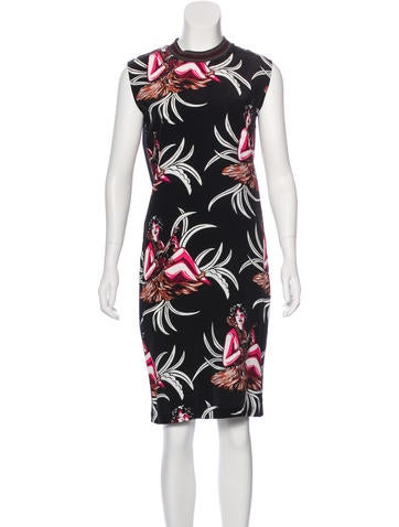 Prada Sleeveless Printed Dress None