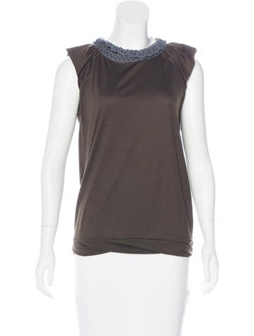 Prada Wool-Blend Lace-Accented Top None