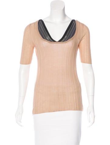 Prada Sheer-Trimmed Knit Top None