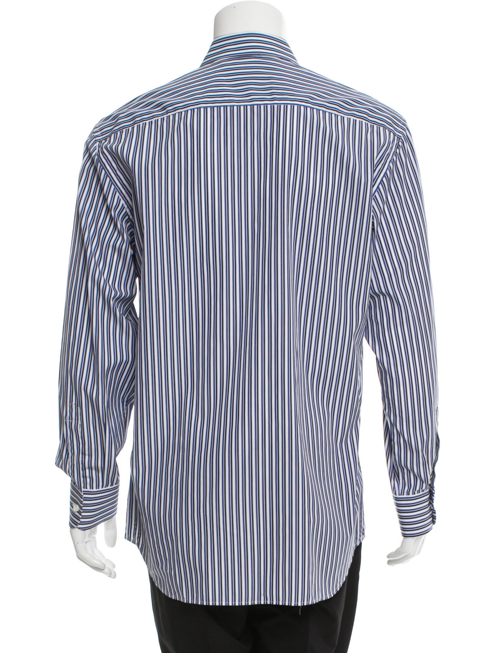Prada striped button up shirt clothing pra149556 the for Striped button up shirt mens