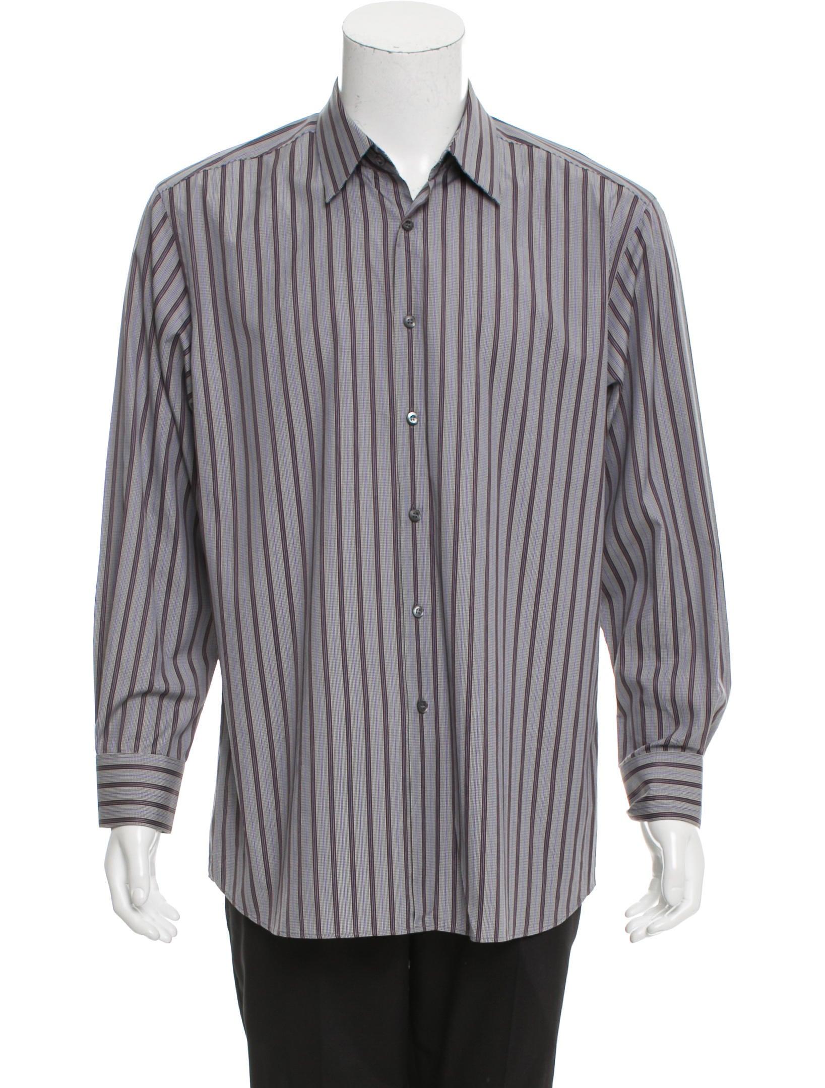 Prada striped button up shirt clothing pra149558 the for Striped button up shirt mens