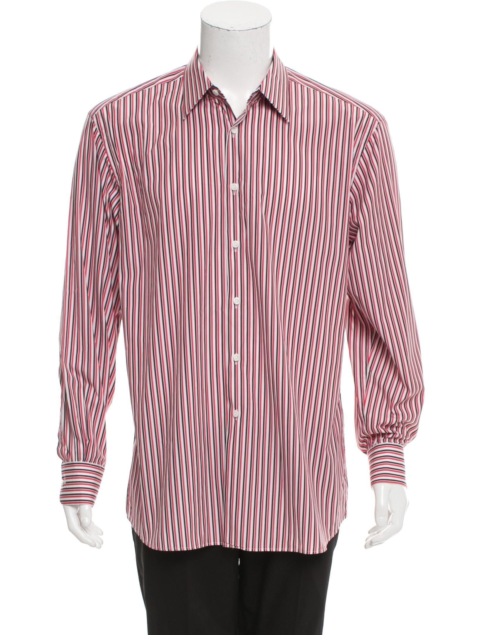 Prada striped button up shirt clothing pra149610 the for Striped button up shirt mens