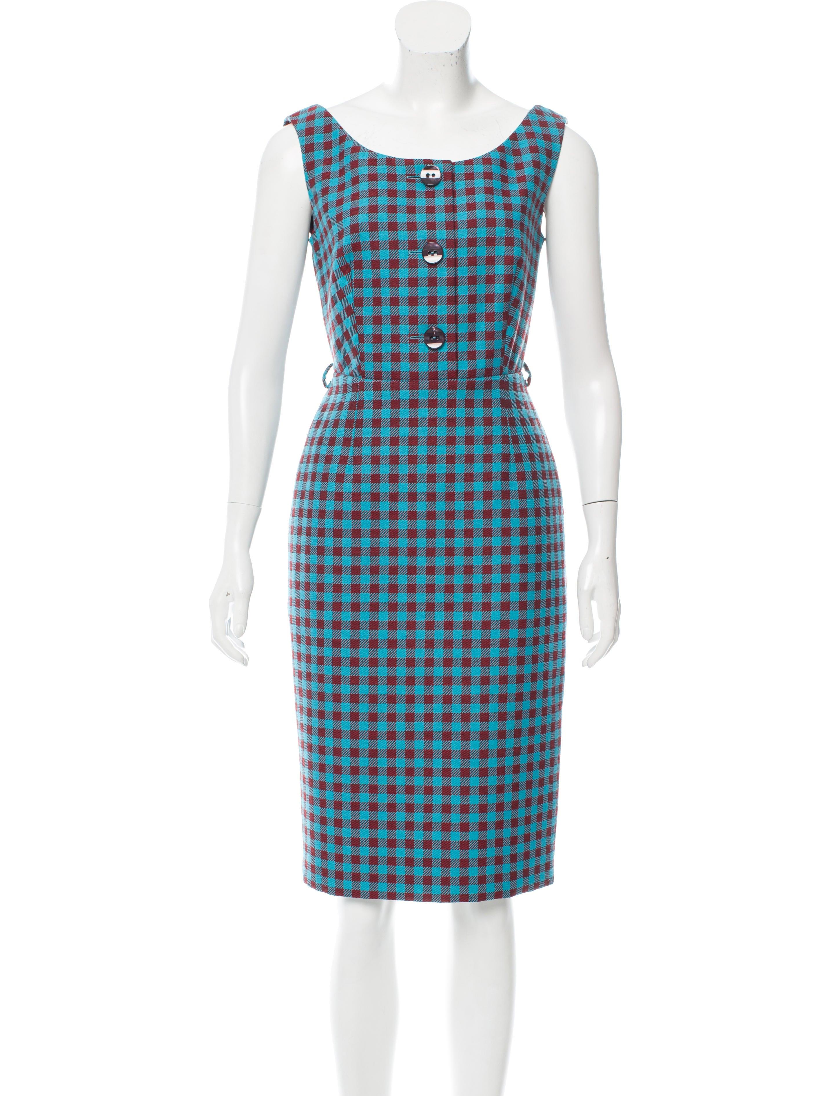 Prada gingham sleeveless dress clothing pra149824 for Sleeveless dress shirt womens