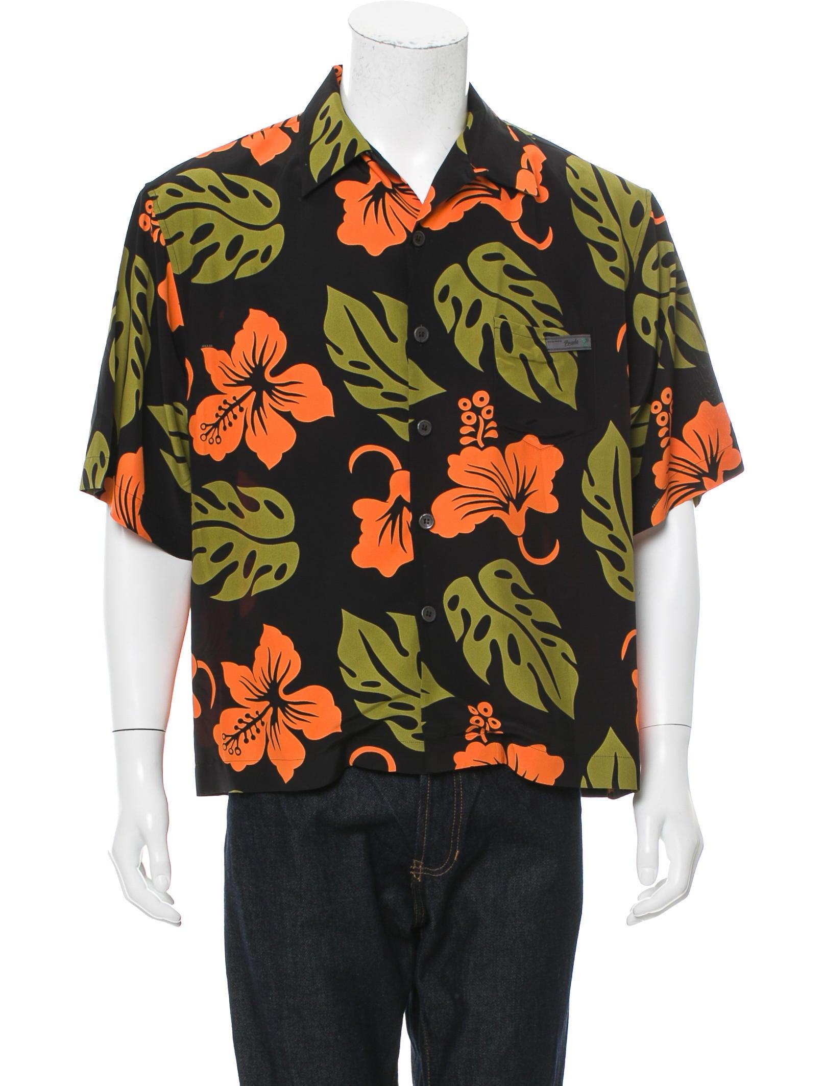 Prada floral print button up shirt clothing pra150570 for Floral print button up shirt