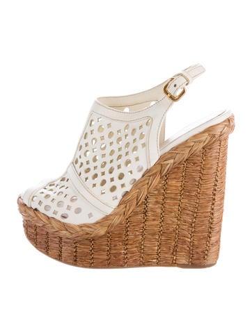 Prada Perforated Wedge Sandals None