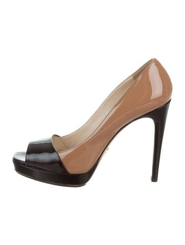Prada Patent Leather Peep-Toe Pumps None