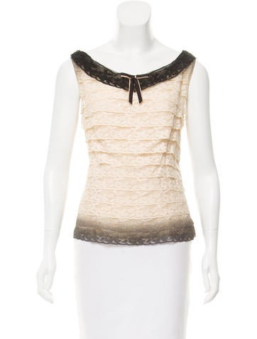 Prada Tiered Lace Top None