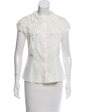Prada Ruched Button-Up Top None