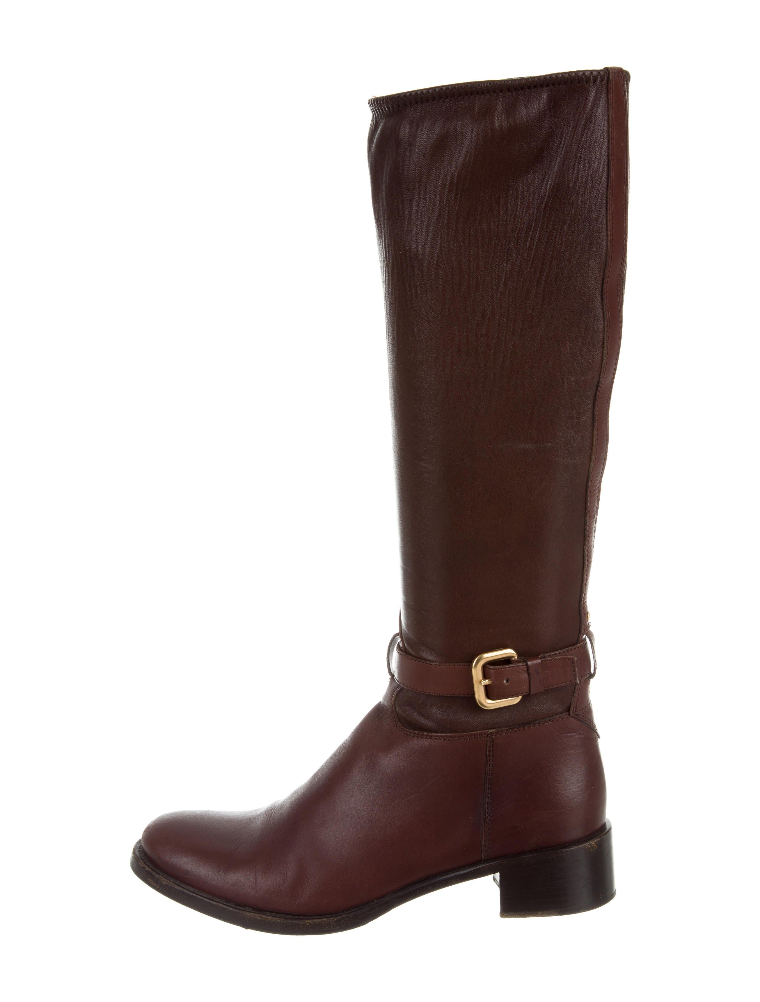 prada leather knee high boots shoes pra151544 the