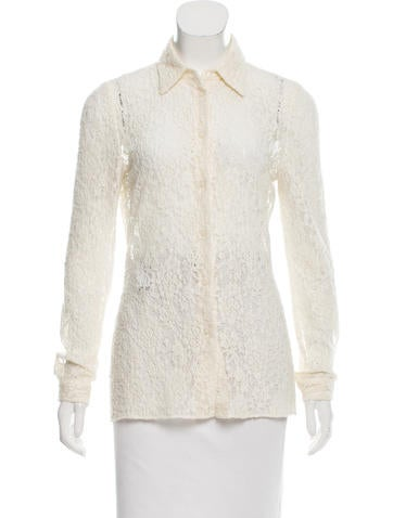 Prada Button-Up Lace Top None