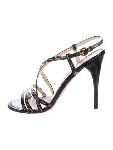 Prada Patent Leather Crossover Sandals None