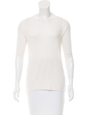 Prada Rib Knit Short Sleeve Top None