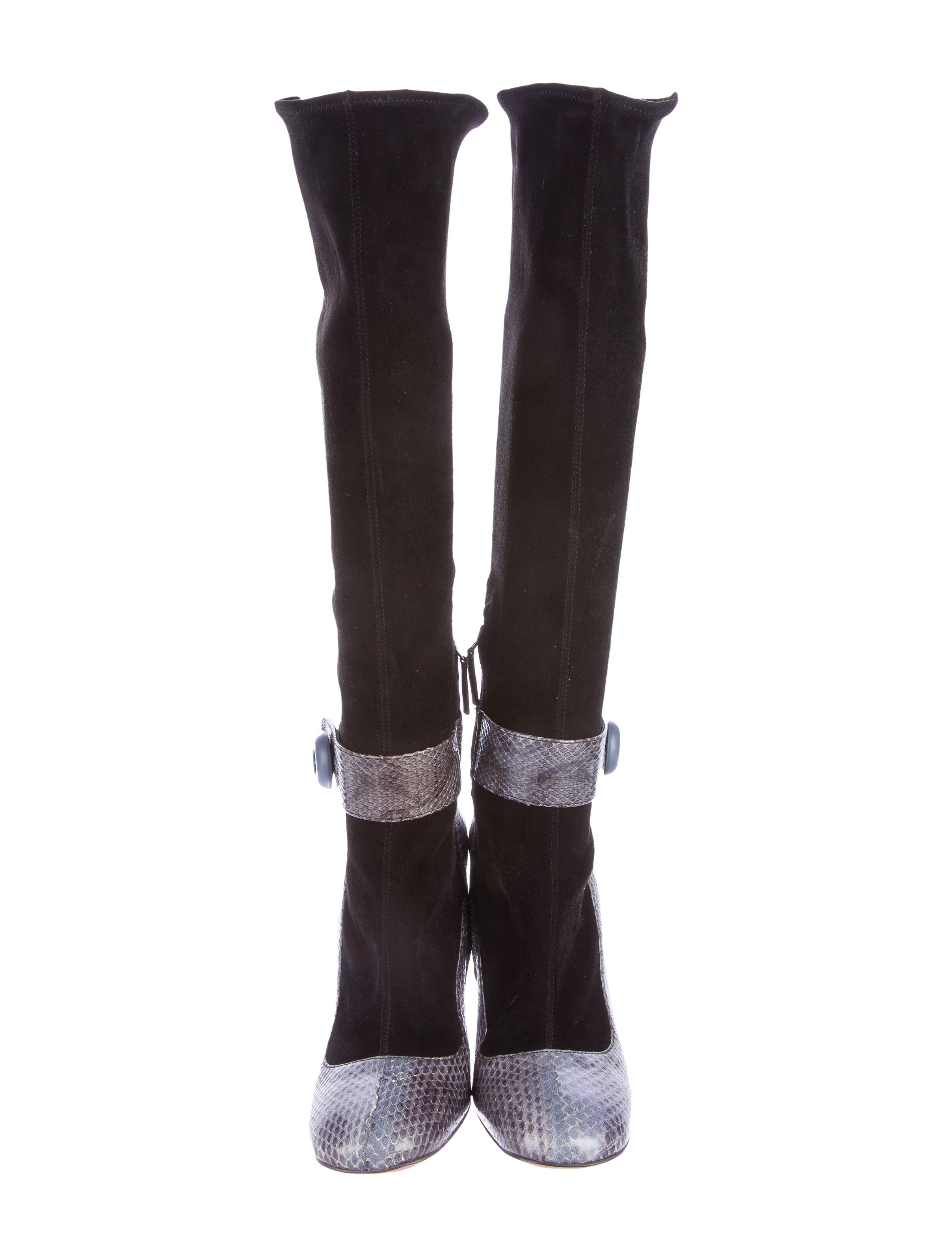 prada snakeskin knee high boots shoes pra152644 the