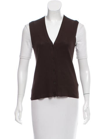 Prada Rib Knit Button-Up Vest None