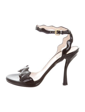 Prada Patent Leather Scallop-Trimmed Sandals None