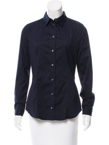 Prada Long Sleeve Button-Up Top None