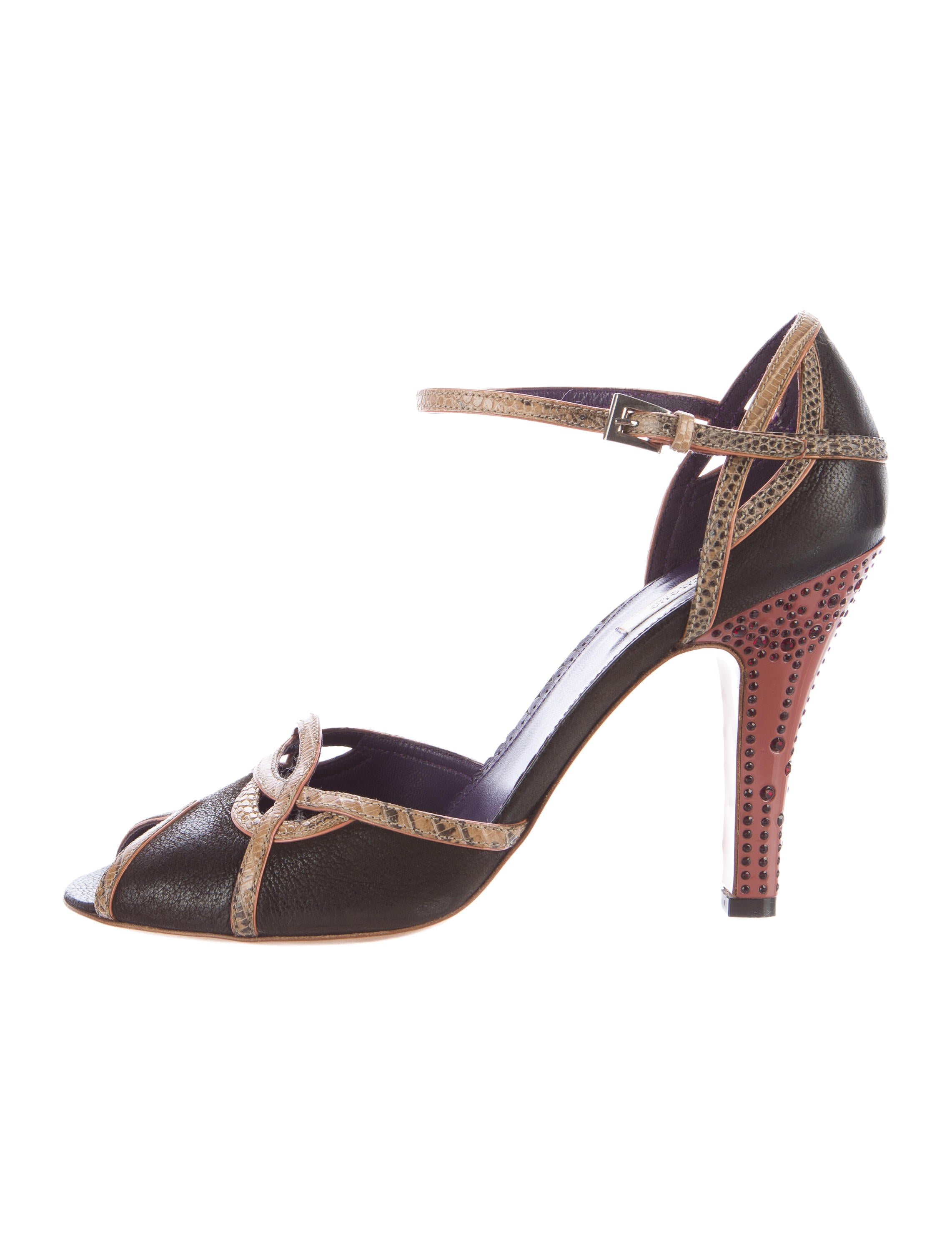 Prada Lizard-Trimmed Ankle Strap Sandals low shipping fee cheap online nrbOPlA9r
