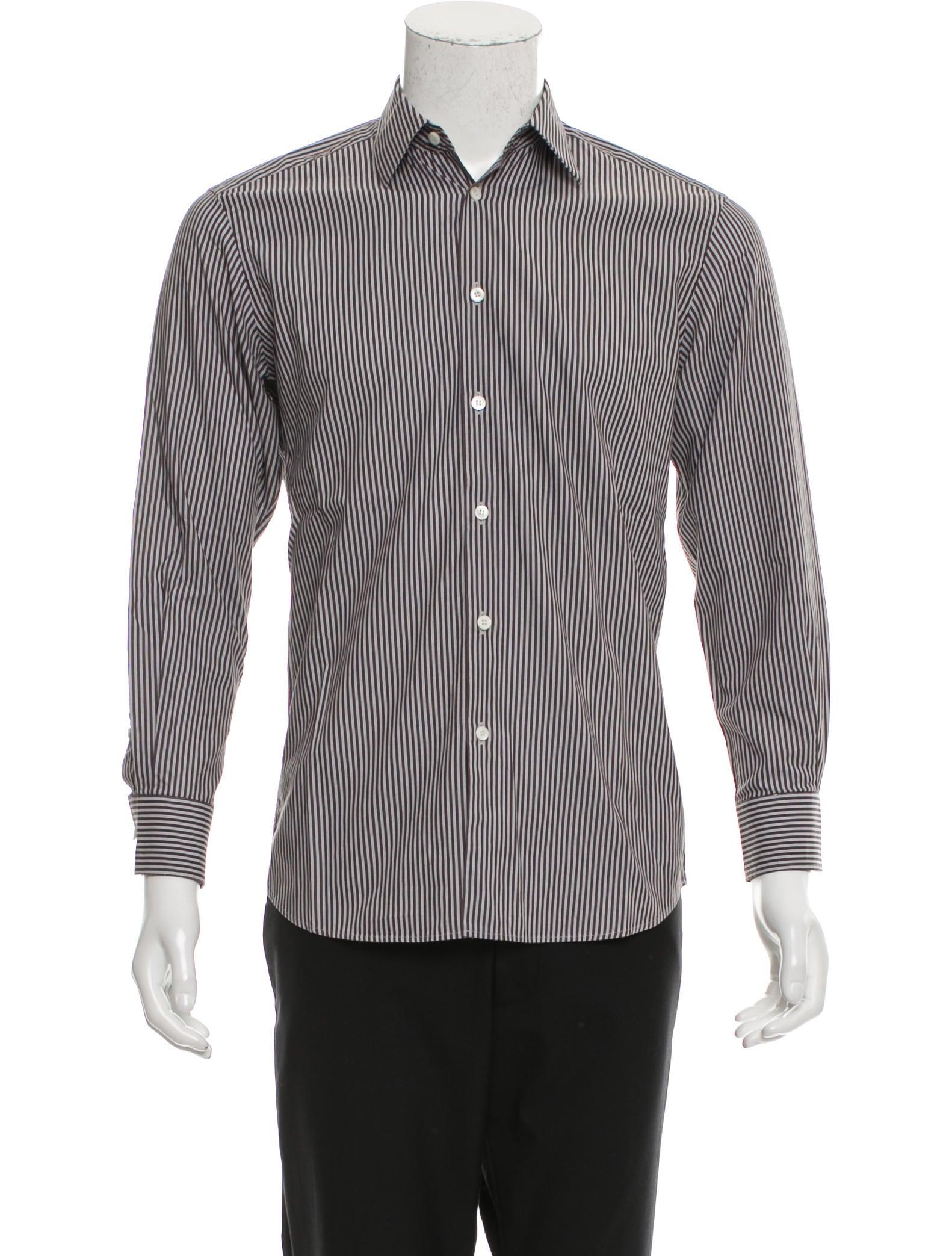 Prada striped button up shirt clothing pra154050 the for Striped button up shirt mens
