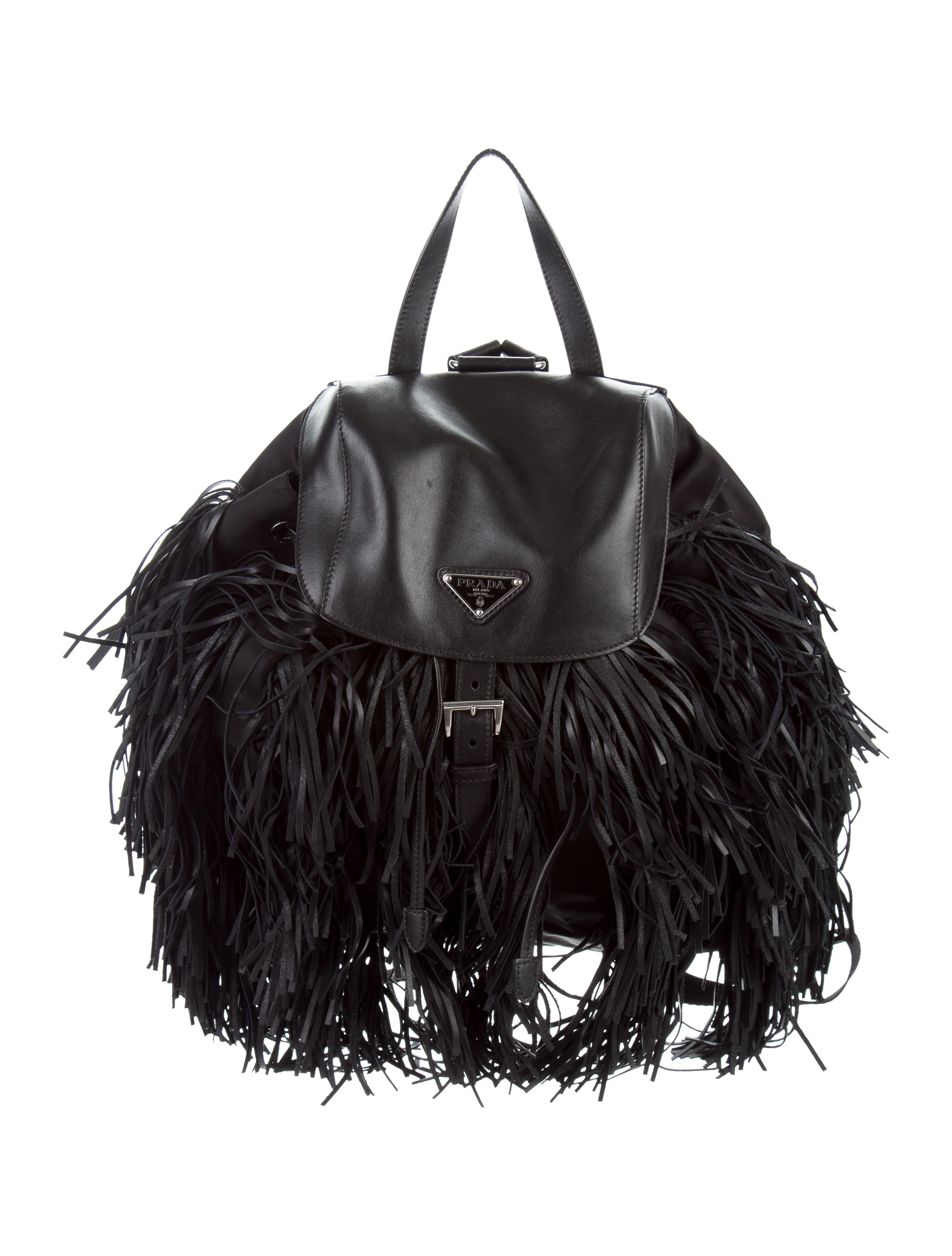9263e7f2b33a23 australia shopping prada tessuto soft calf fringe backpack handbags  pra154225 the realreal 83cf2 5c8ff 9259e a6d58
