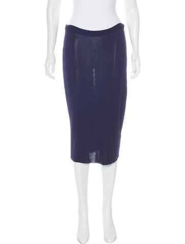 Prada Rib Knit Pencil Skirt None