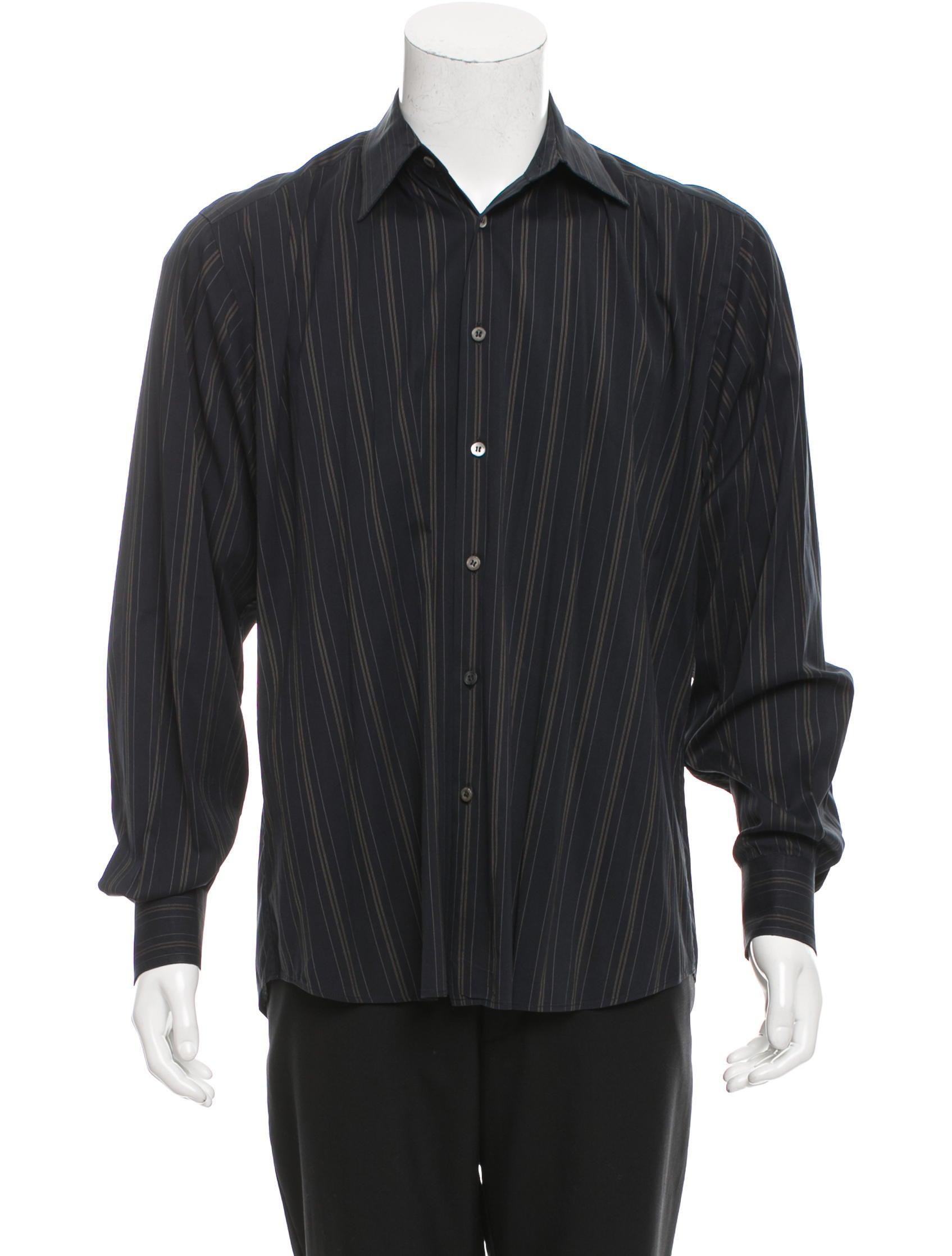 Prada striped button up shirt clothing pra154539 the for Striped button up shirt mens