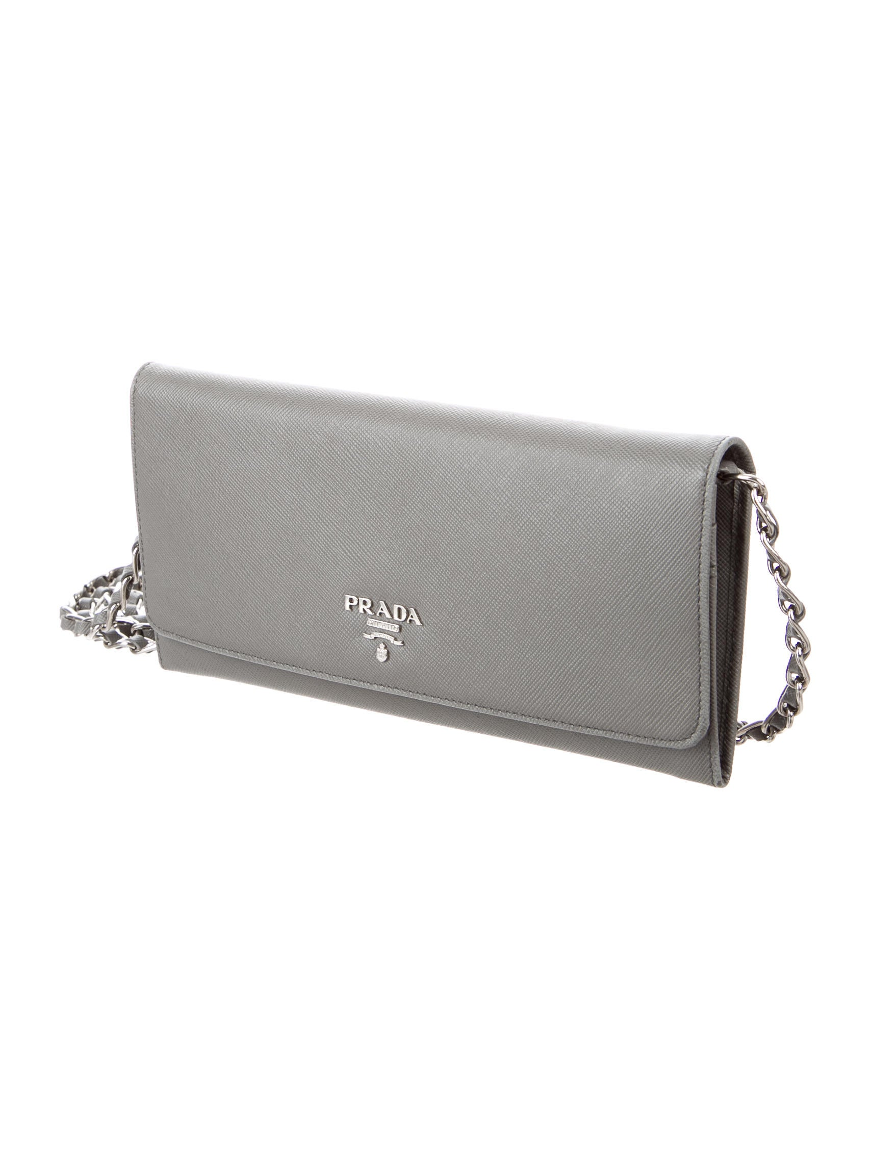 19401388e9fc Prada Wallet On A Chain With Silver. Prada Saffiano Metal ...