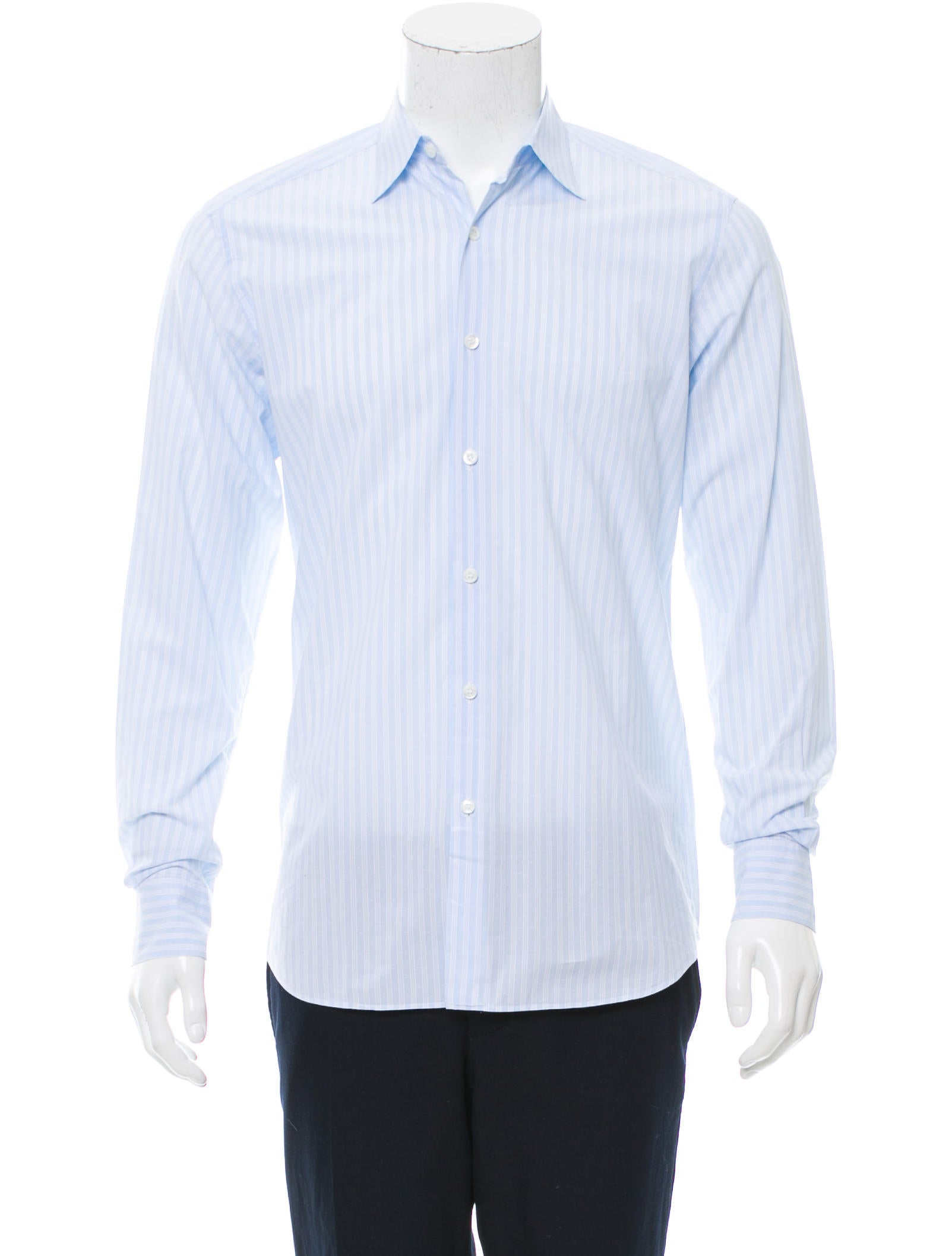 Prada striped button up shirt clothing pra154696 the for Striped button up shirt mens