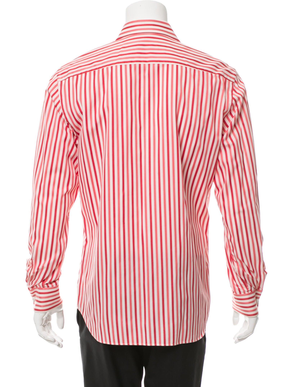 Prada striped button up shirt clothing pra154787 the for Striped button up shirt mens