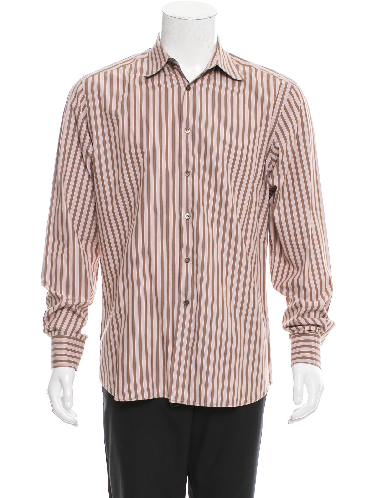 Prada striped button up shirt clothing pra154794 the for Striped button up shirt mens