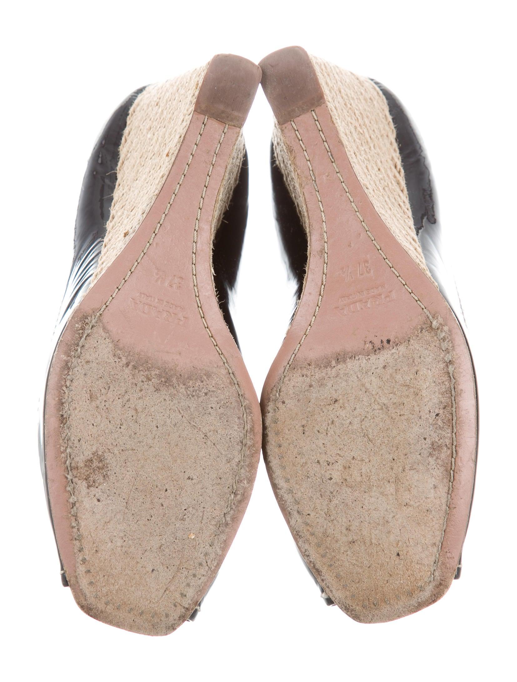 prada peep toe espadrille wedges shoes pra154880 the