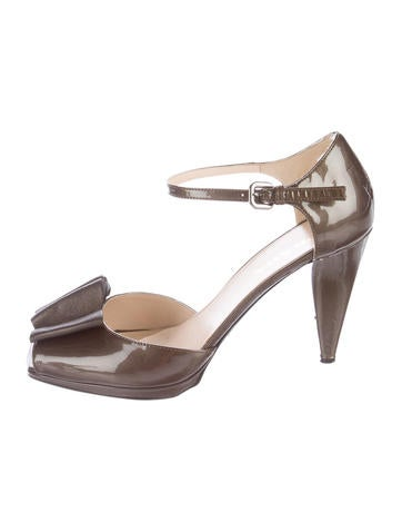 Prada Patent Leather Ankle Strap Sandals None