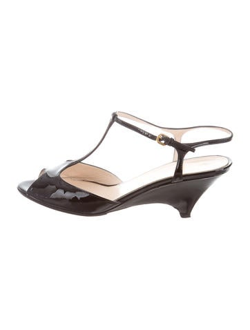 Prada T-Strap Patent Leather Wedges None