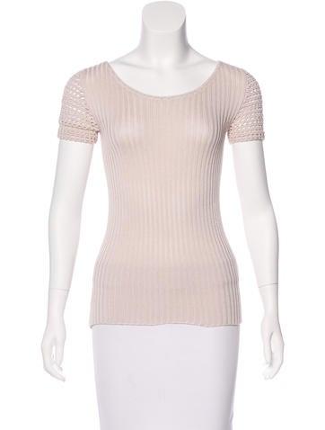 Prada Crochet-Accented Knit Top None