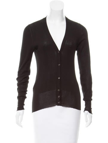 Prada Ribbed Button Up Cardigan None