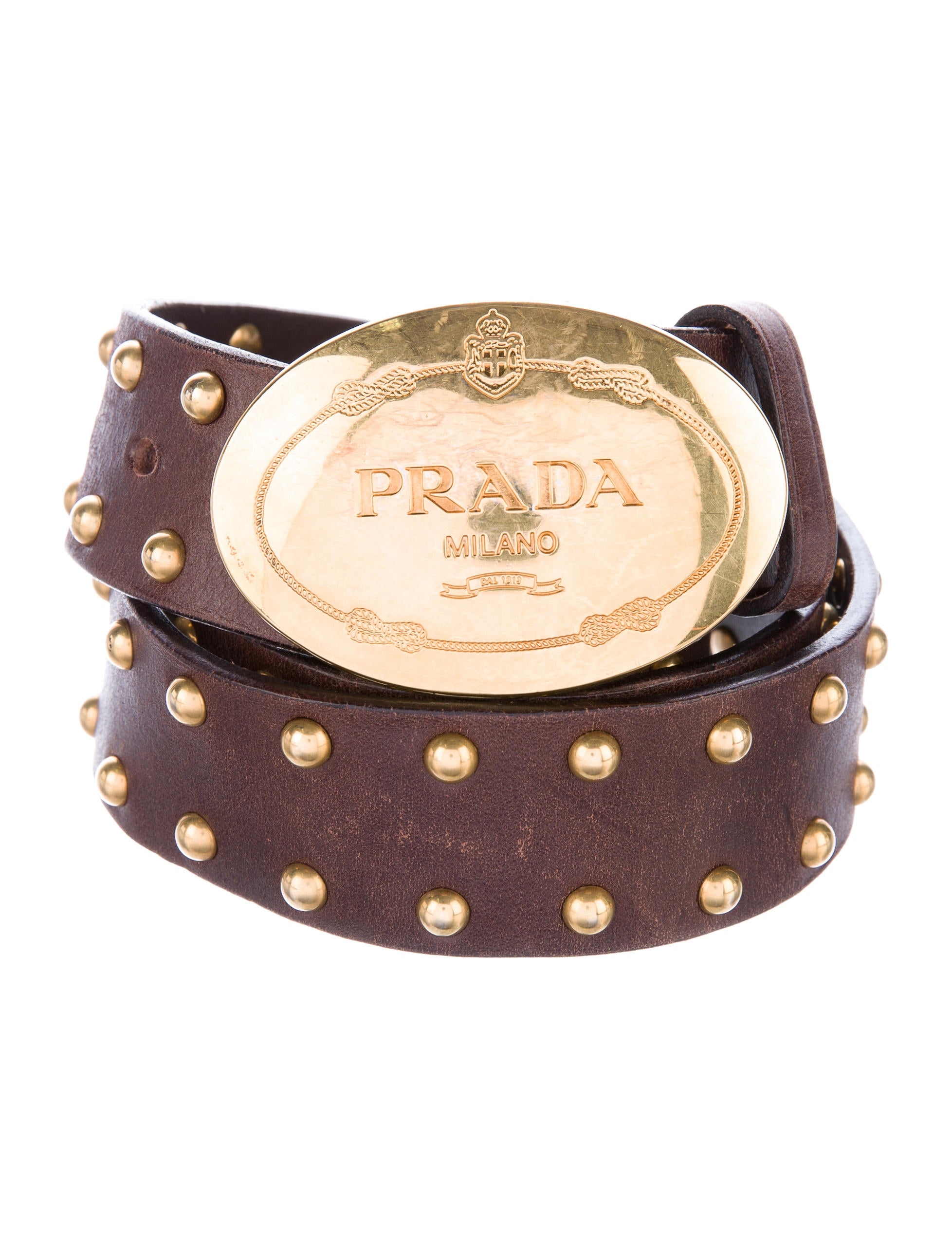 prada leather studded belt accessories pra155645 the