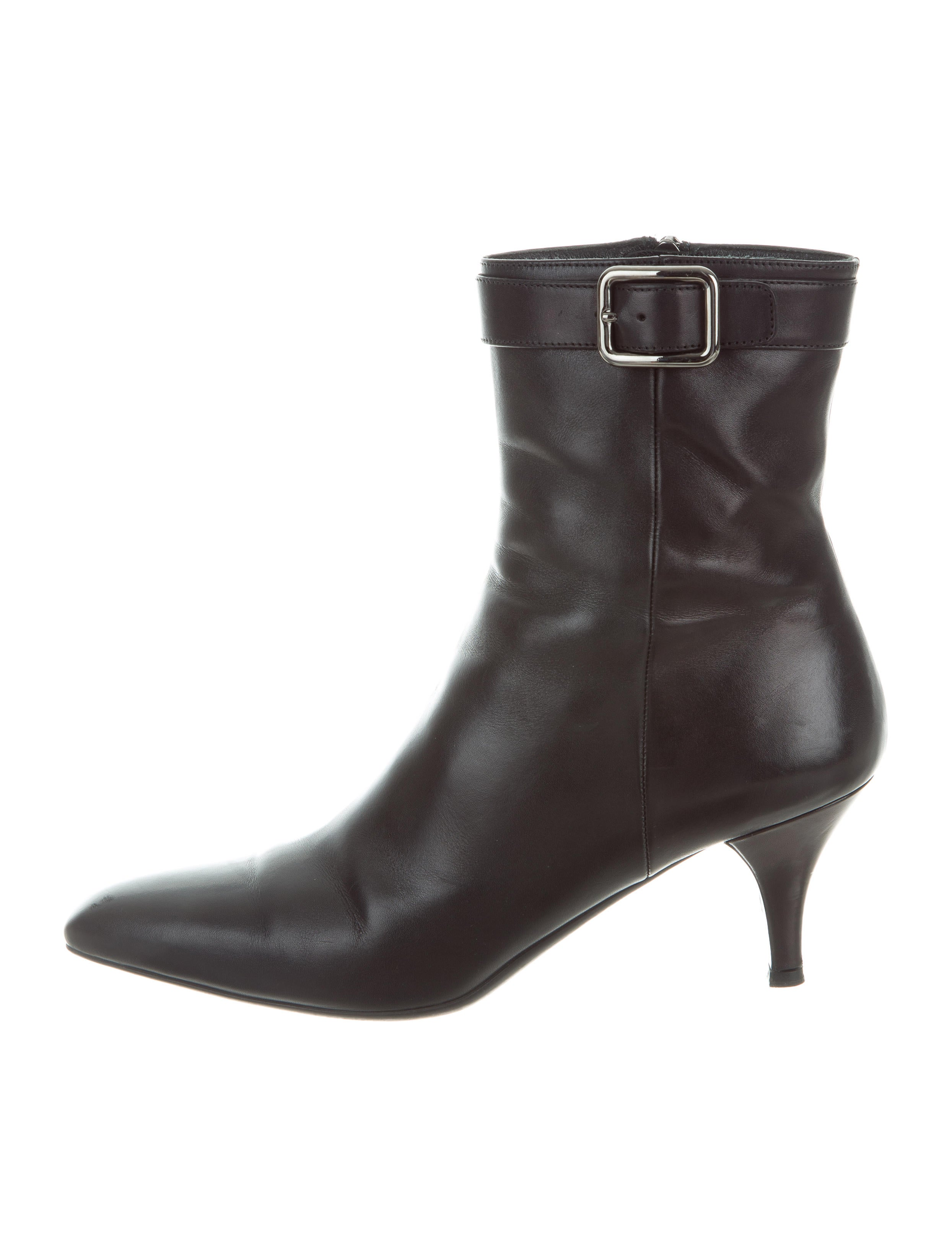 Prada Leather Point-Toe Booties Y8K06EE