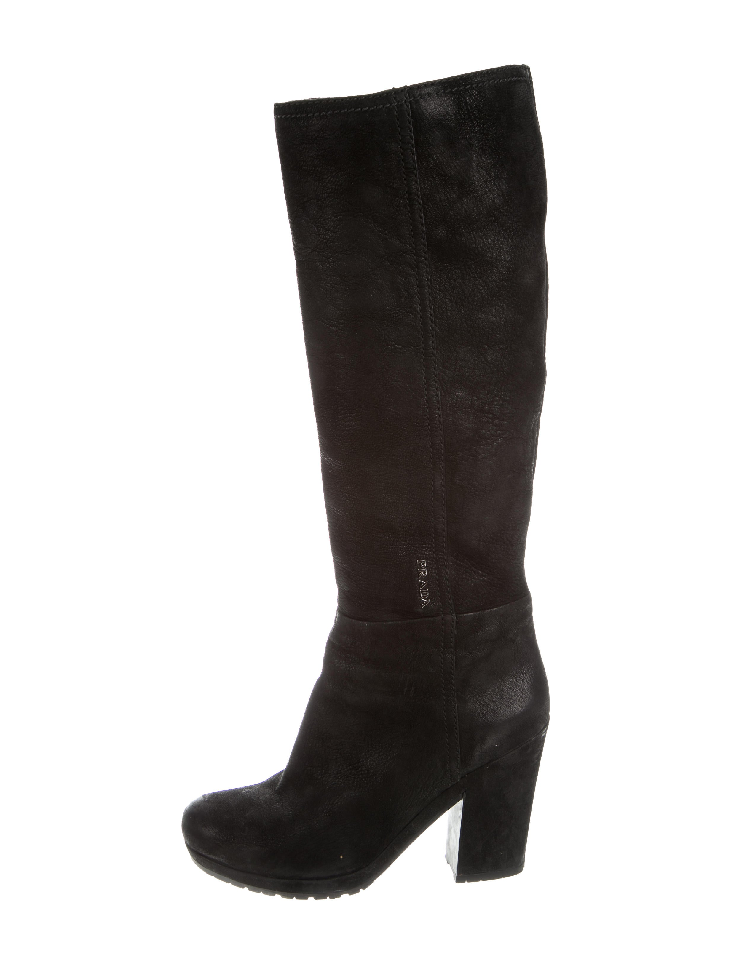 prada leather knee high boots shoes pra155712 the