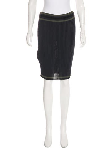 Prada Knee-Length Rib Knit Skirt None