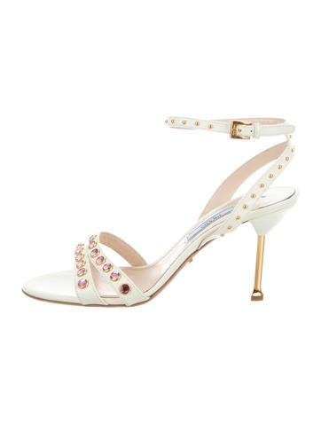Prada Patent Leather Embellished Sandals None