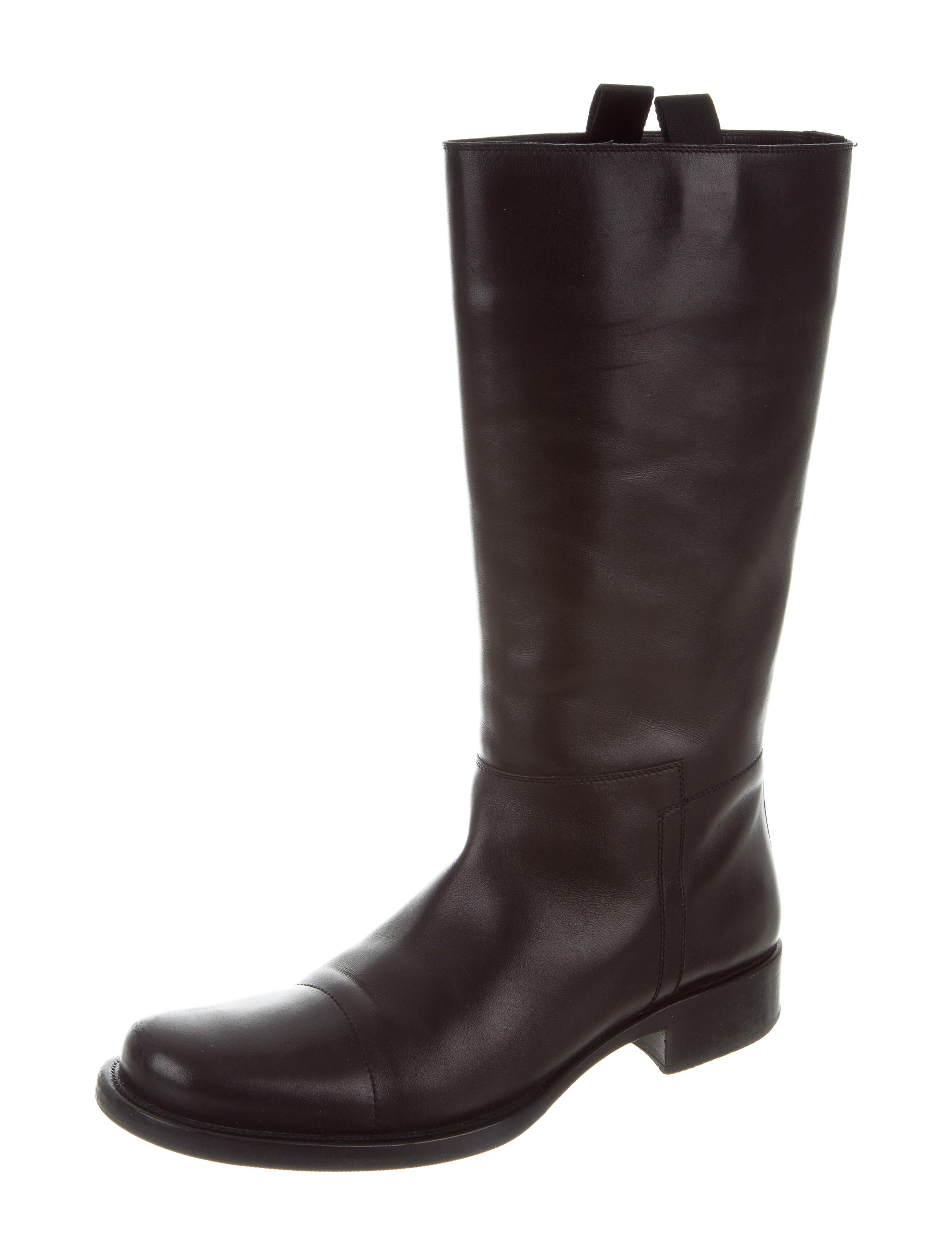 prada leather mid calf boots shoes pra156020 the