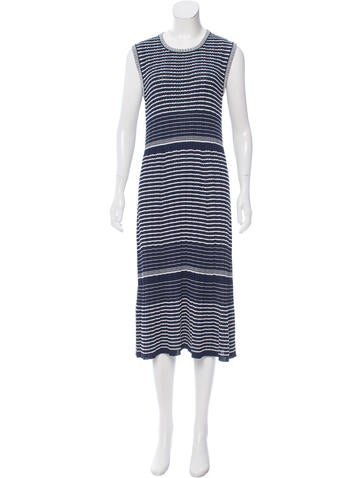 Prada Rib Knit Striped Dress None