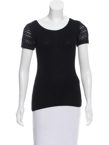 Prada Rib Knit Short Sleeve Top None
