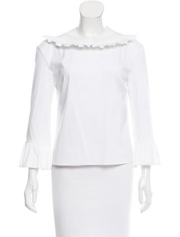Prada Tailored Ruffle-Trimmed Top w/ Tags None