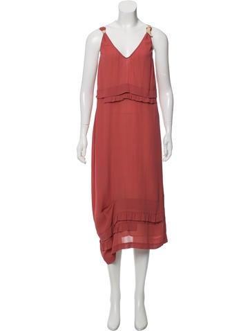 Prada Ruffle-Trimmed Midi Dress None