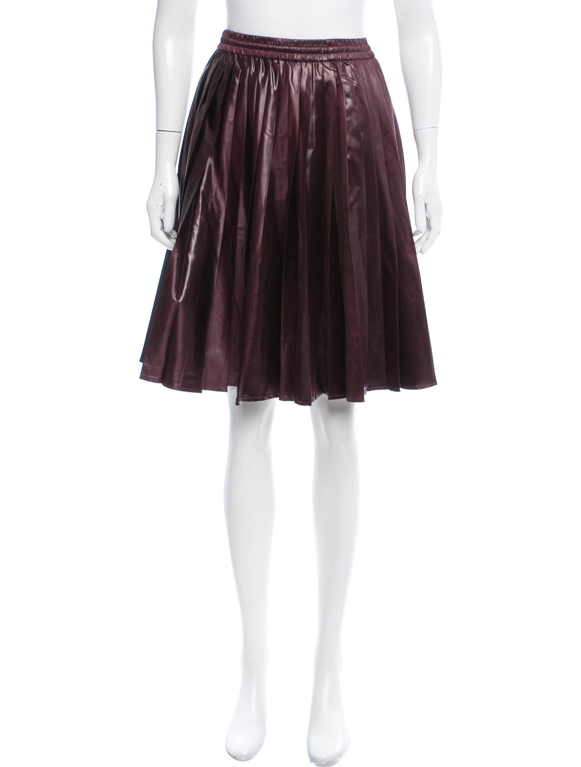 prada pleated knee length skirt clothing pra156497