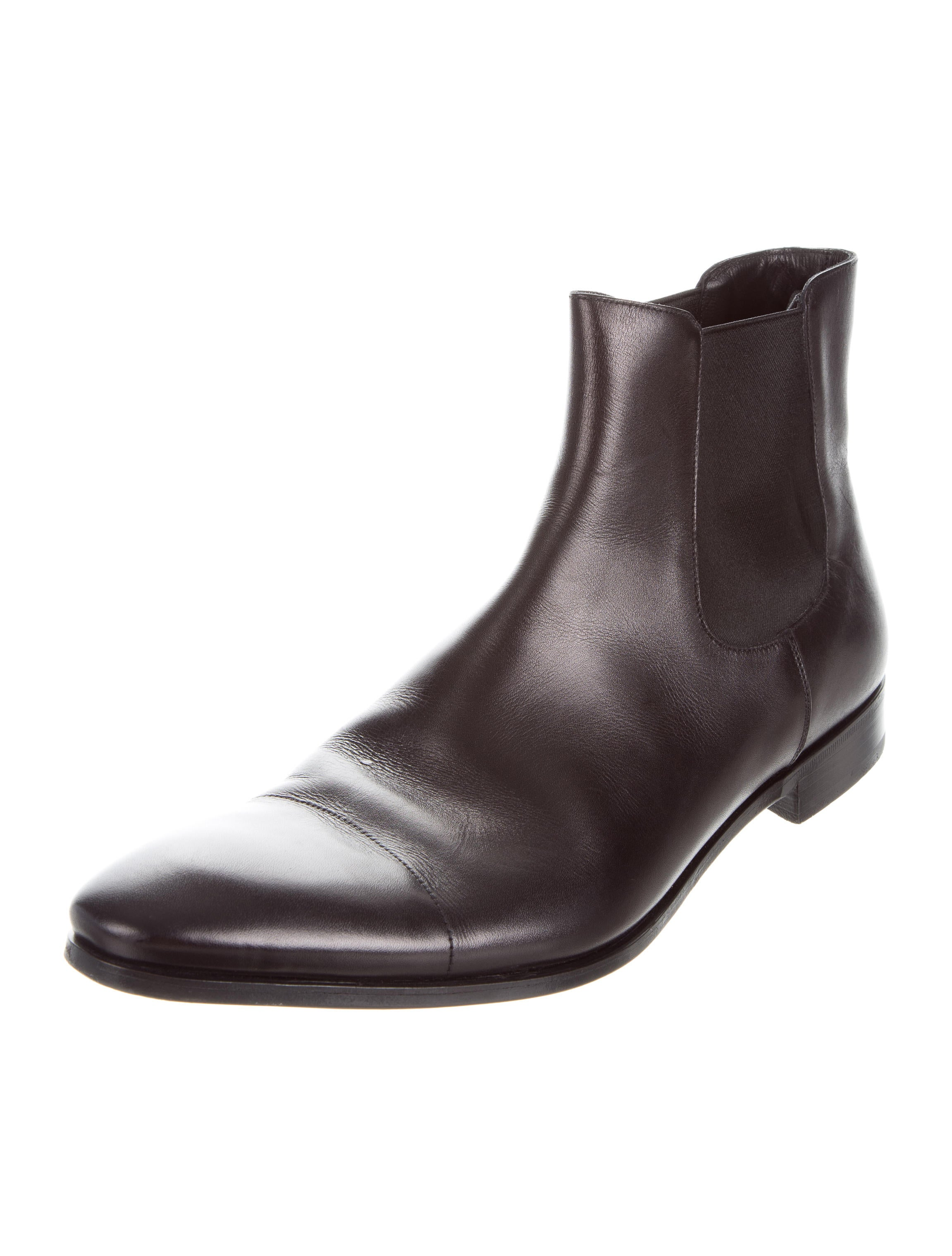 prada leather chelsea boots shoes pra156704 the realreal
