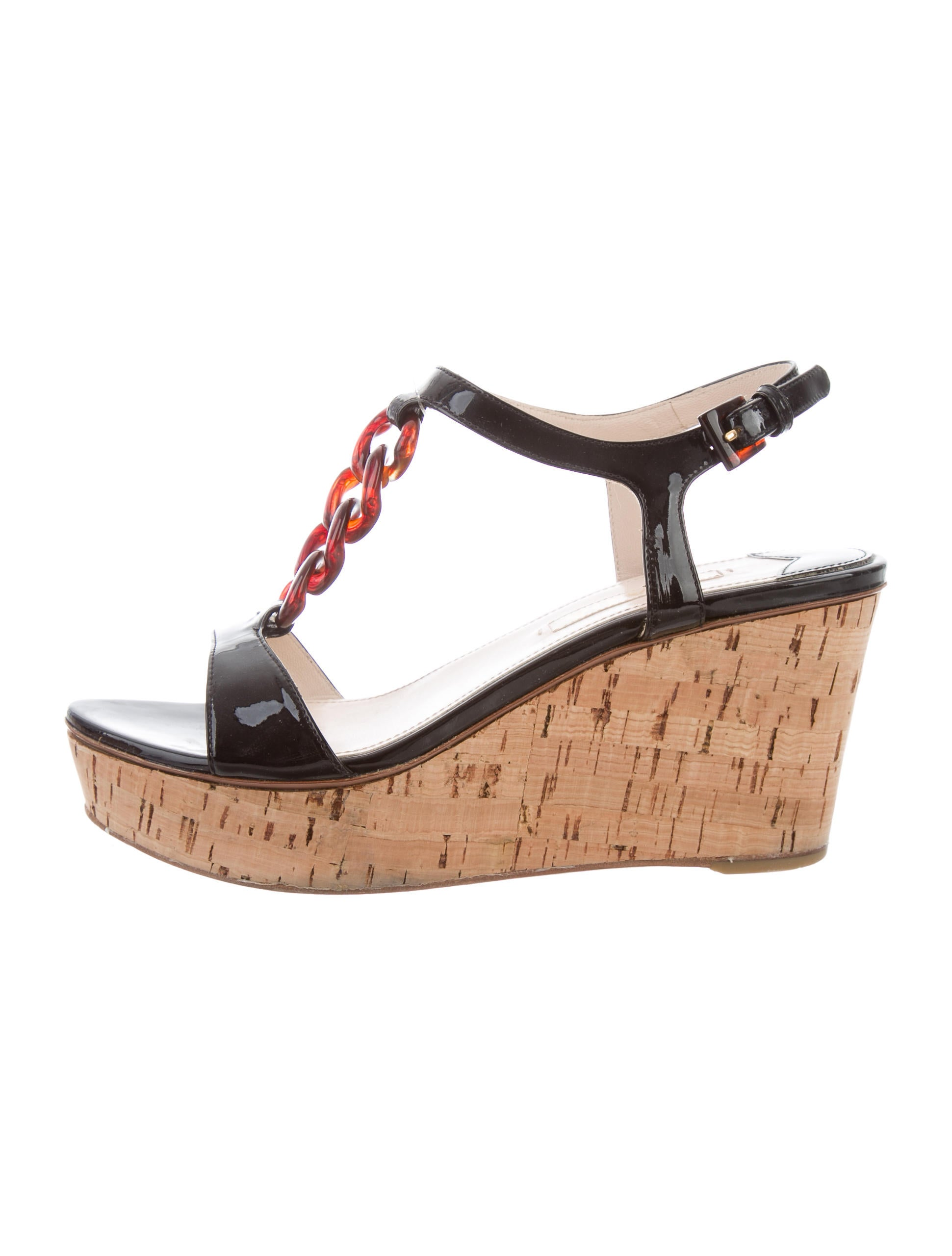 prada patent leather wedge sandals shoes pra156814