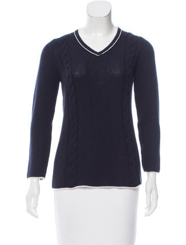 Prada V-Neck Cable Knit Sweater None