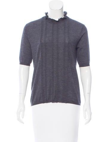 Prada Ruffle-Trimmed Knit Top None